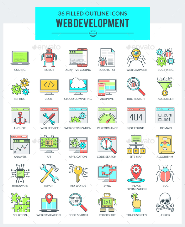 GraphicRiver WEB Development and Programming Icons 20368126