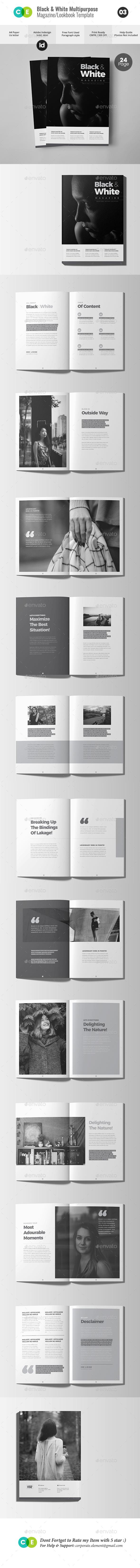 BLACK & WHITE | The Magazine Lookbook V03 - Magazines Print Templates