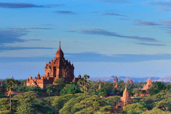 The Temples of bagan at sunrise, Bagan, Myanmar - Stock Photo - Images