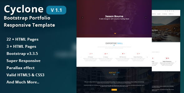 Cyclone-Bootstrap Portfolio Responsive Template by CN-InfoTech