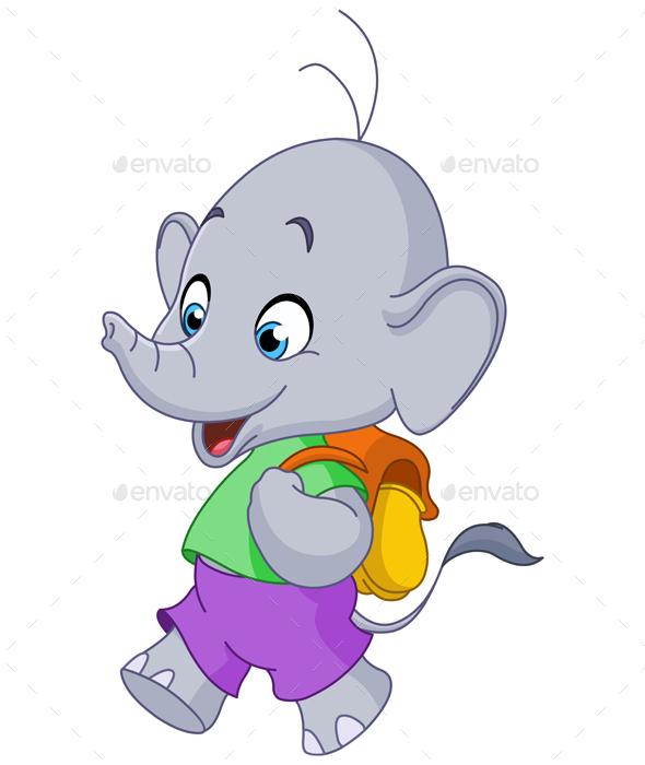 School Elephant - Animals Characters