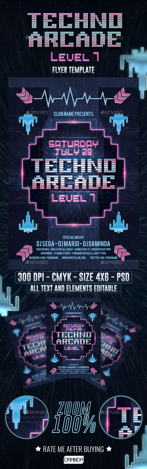Techno Arcade 3 Flyer Template - Clubs & Parties Events
