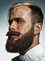 Portrait of hipster bearded man's side face.