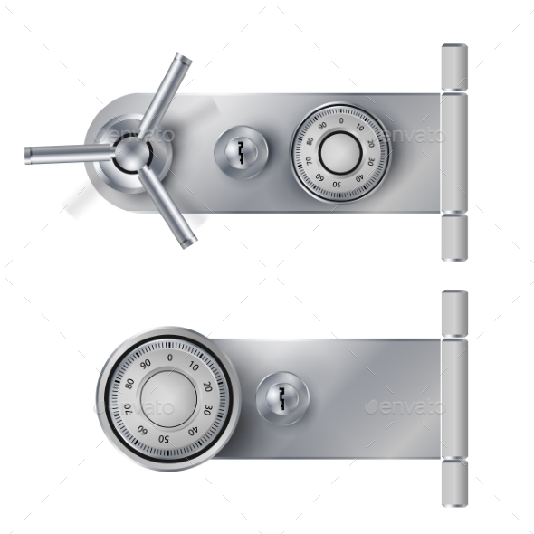 Combination Lock, Realistic Metal Vector - Objects Vectors