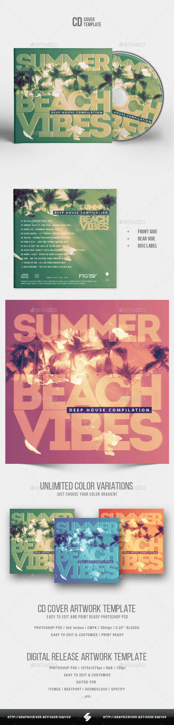 GraphicRiver Summer Beach Vibes House Music CD Cover Artwork Template 20370568