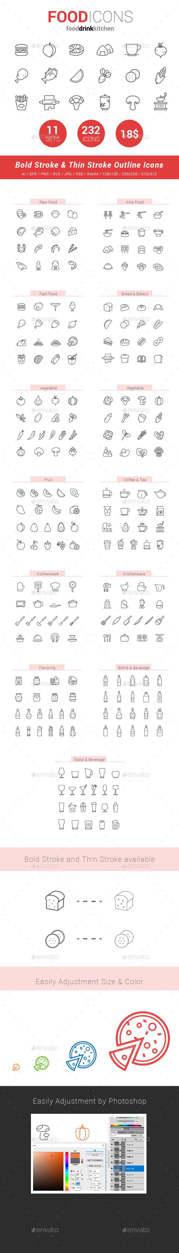 GraphicRiver 232 Food Line Icon 20370795