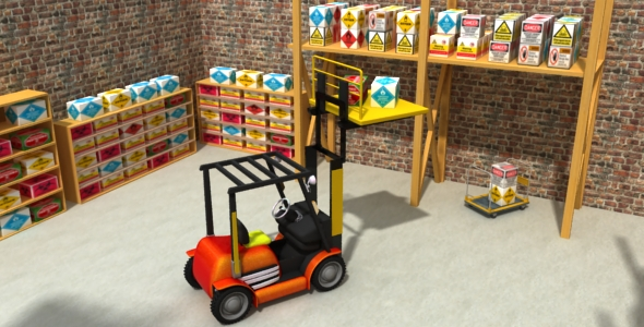 3DOcean Low poly Fork Lift 3D Model 20370856