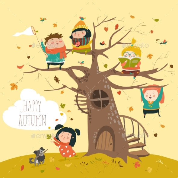 Happy Children Sitting on Tree in Autumn Park - People Characters