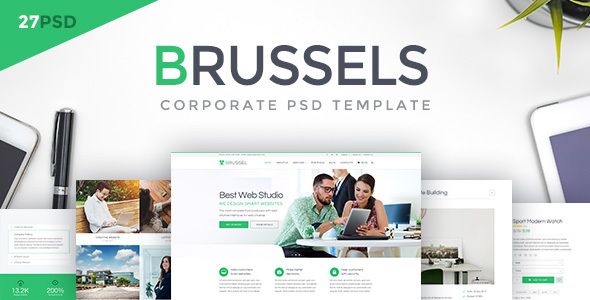 ThemeForest Brussels Corporate PSD Template 20370955