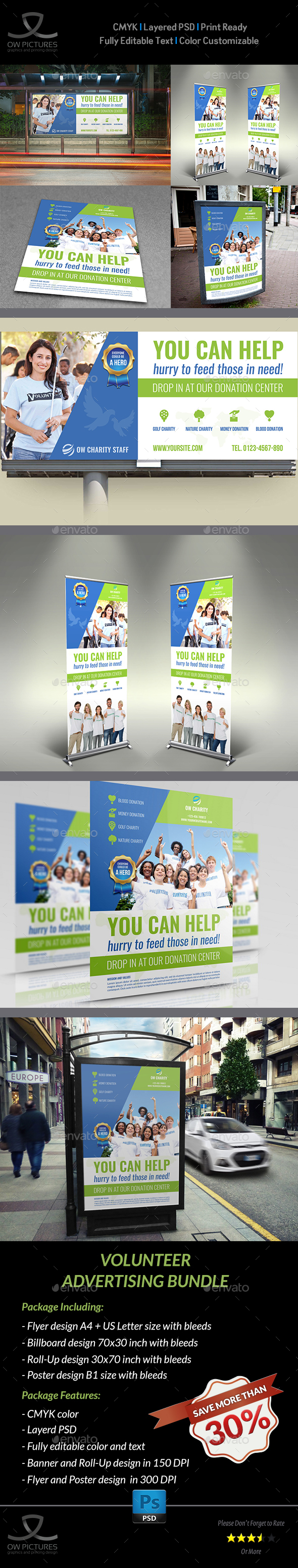 Volunteer Advertising Bundle - Signage Print Templates