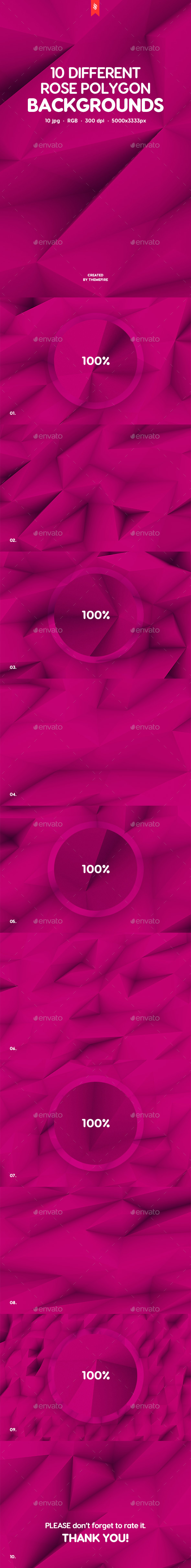 Realistic Rose Polygon Backgrounds