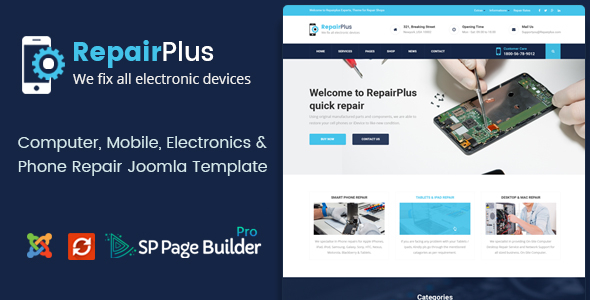 Repair Plus - Computer, Mobile, Electronics and Phone Repair Joomla Template