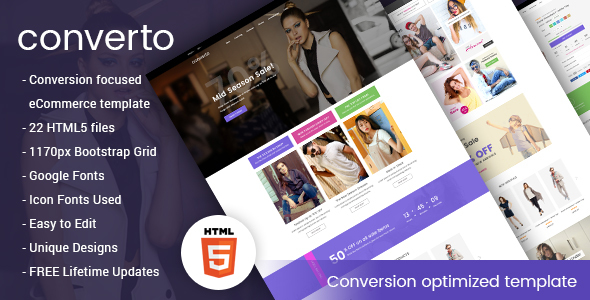 Image of Converto - Conversion Optimized eCommerce HTML5 Template