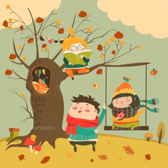 Happy Kids Ride on a Swing in the Autumn Forest - People Characters