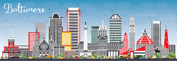 GraphicRiver Baltimore Skyline with Gray Buildings and Blue Sky 20371453