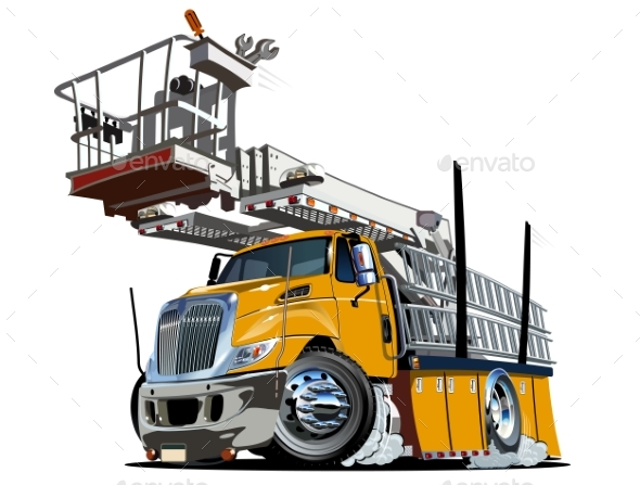 Cartoon Platform Lift Truck - Man-made Objects Objects