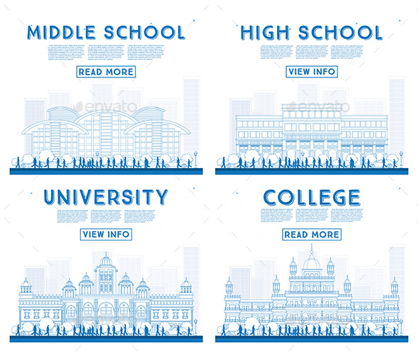 Outline Set of University, High School and College Study Banners. - Buildings Objects