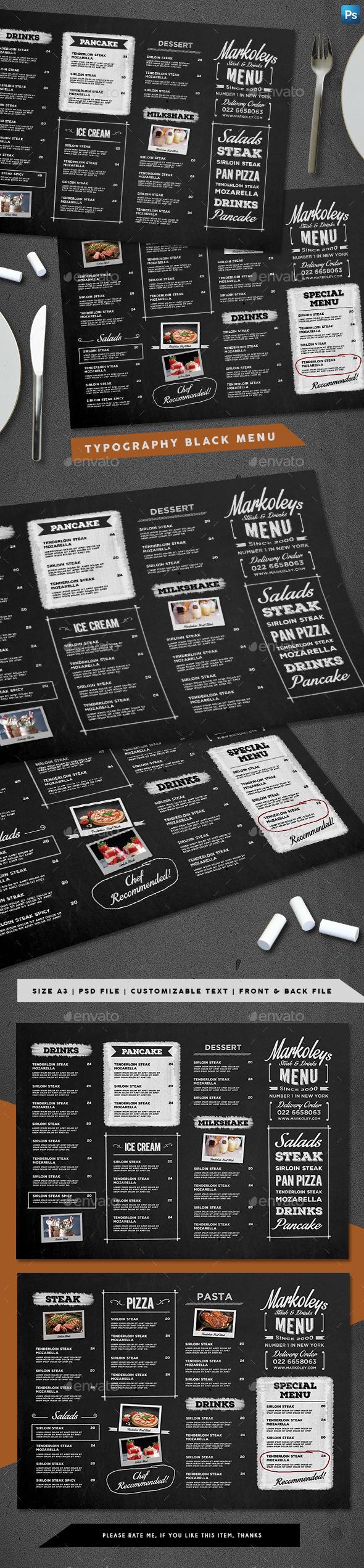 Typography Blackboard Menu - Food Menus Print Templates