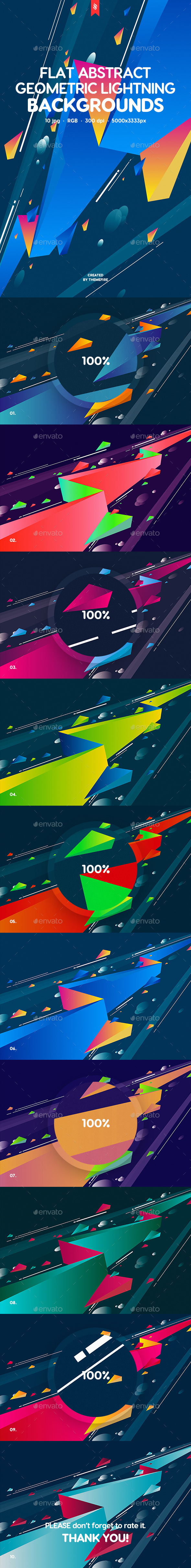 GraphicRiver Abstract Flat Geometric Lightning Backgrounds 20371838
