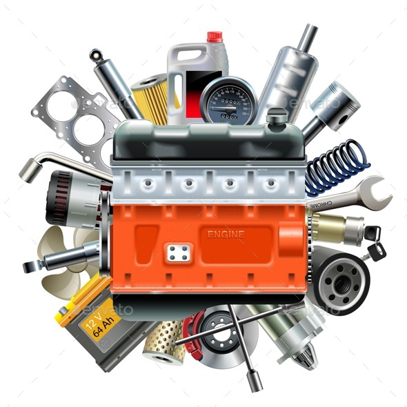 GraphicRiver Vector Engine with Car Spares 20372207
