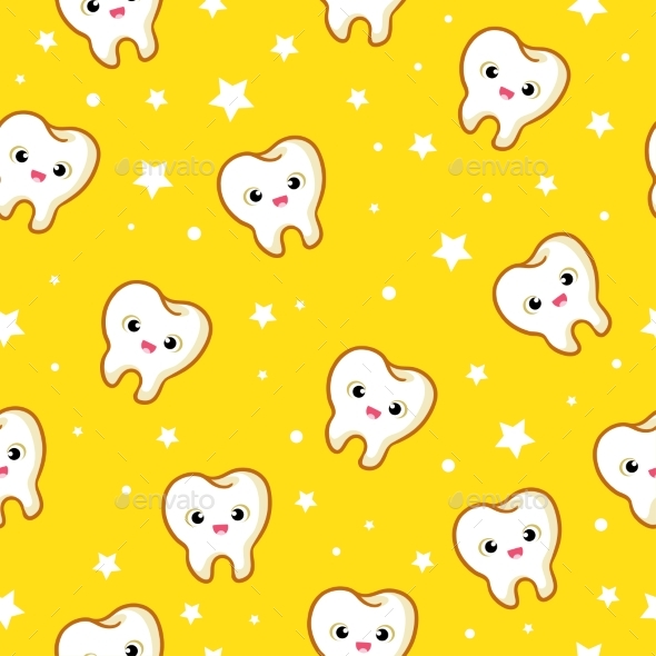 Vector Seamless Pattern with Teeth. - Health/Medicine Conceptual