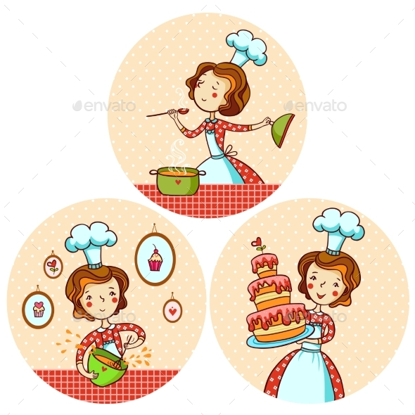 Set with the Girl Cook. - Miscellaneous Vectors