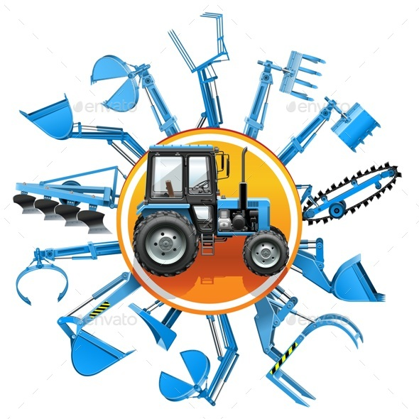 Vector Tractor Equipment Concept - Industries Business