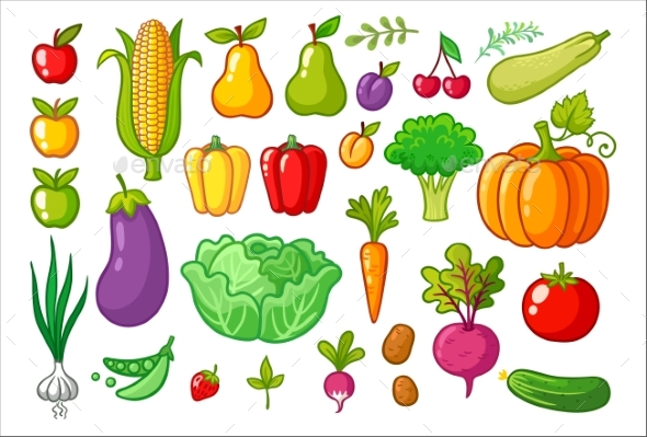 Vector Set with Vegetables. - Food Objects