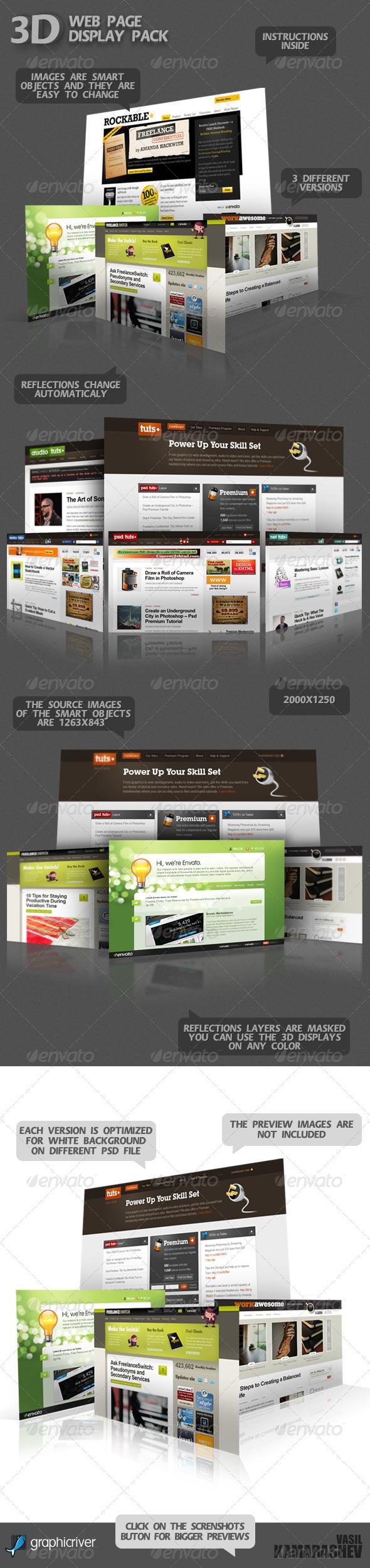 3D Web Page Display Pack - Website Displays