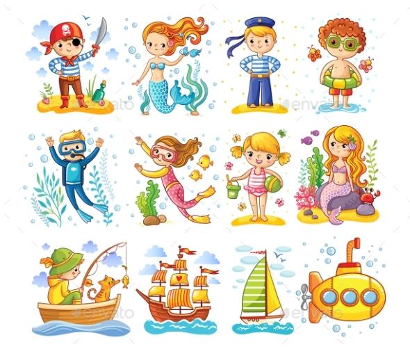 Vector Set on a Sea Theme. - Backgrounds Decorative