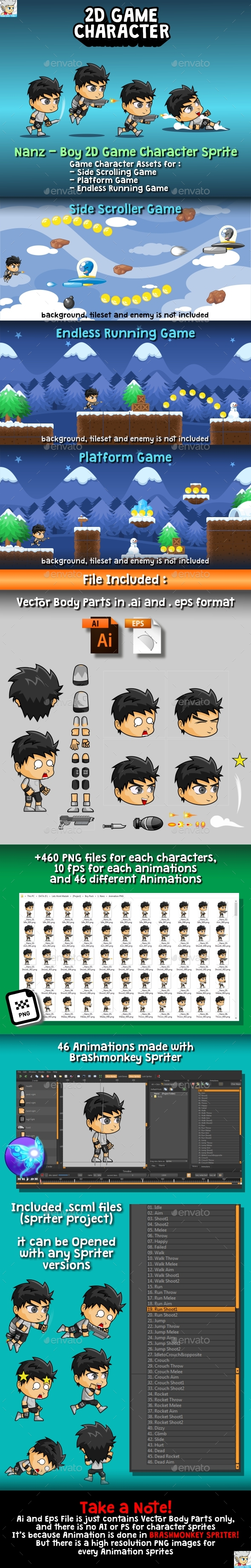 GraphicRiver Nanz 2D Game Character Sprite 20372285