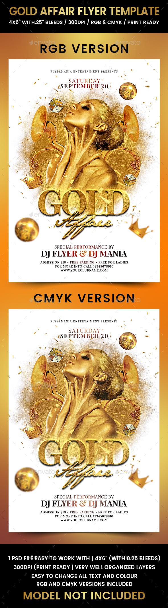 Gold Affair Flyer Template - Flyers Print Templates