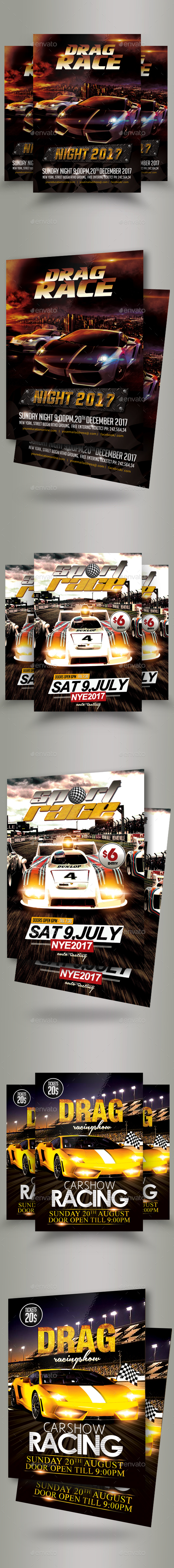 GraphicRiver Bundle of 3 Card Racing Flyers 20372321