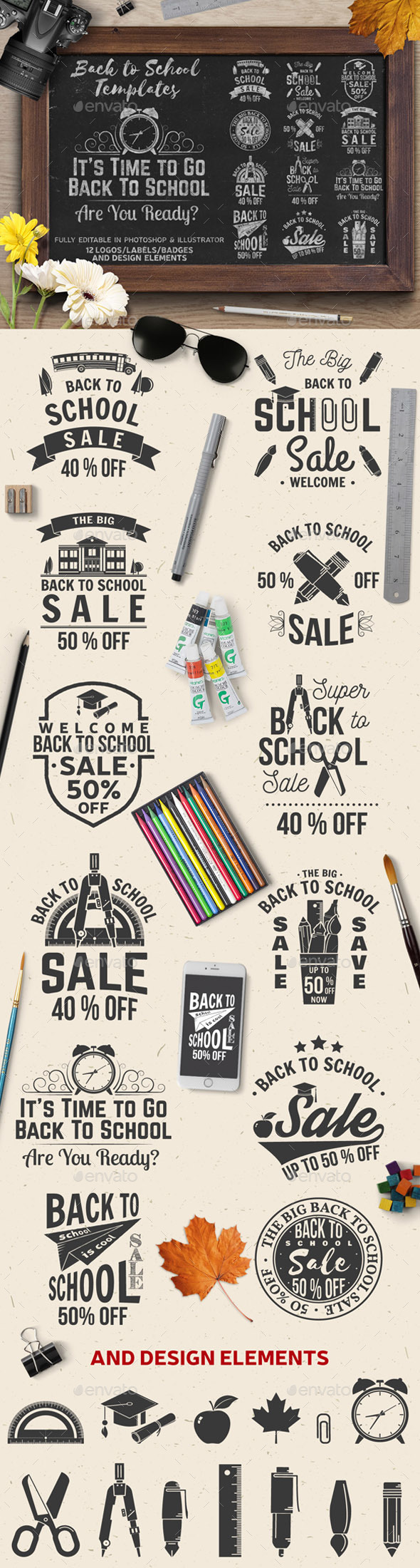 The Big Back to School Sale Badges - Badges & Stickers Web Elements