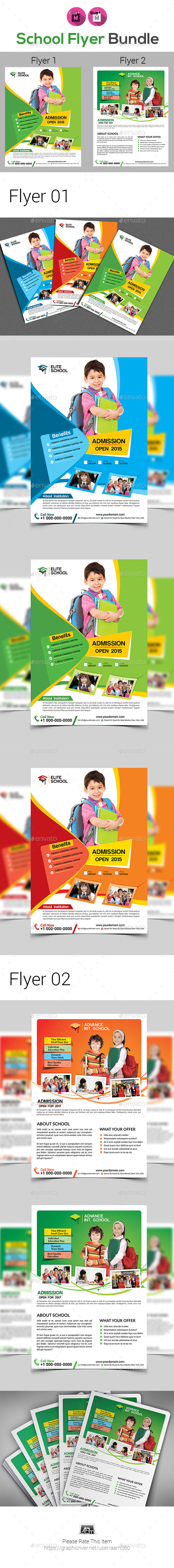 Kids School Flyer Bundle - Flyers Print Templates