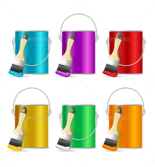 Realistic Color Steel Can Bucket and Paint Brush - Man-made Objects Objects