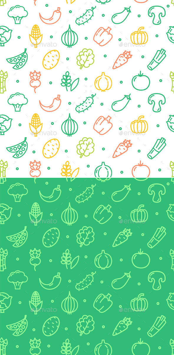 GraphicRiver Vegetables Food Shop Pattern Background 20373197