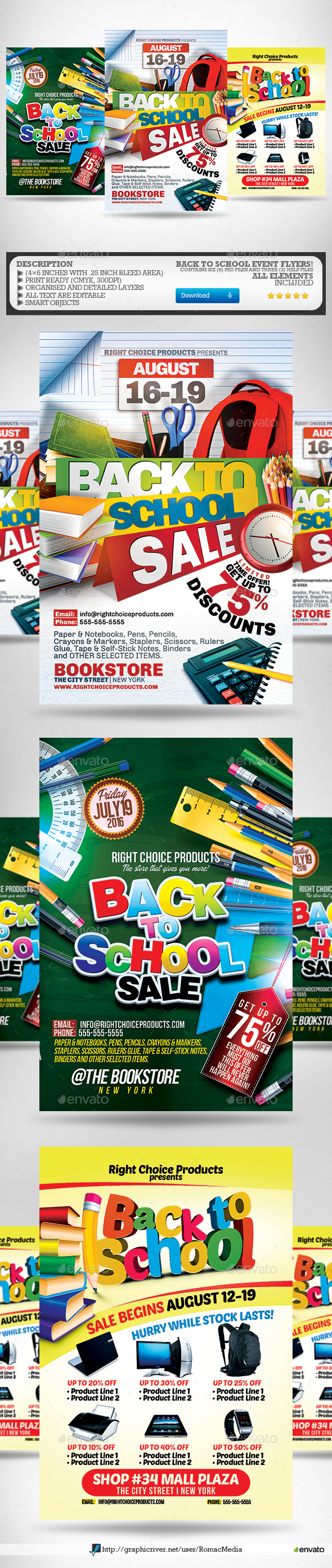 GraphicRiver Back to School Flyer Bundle 20373474