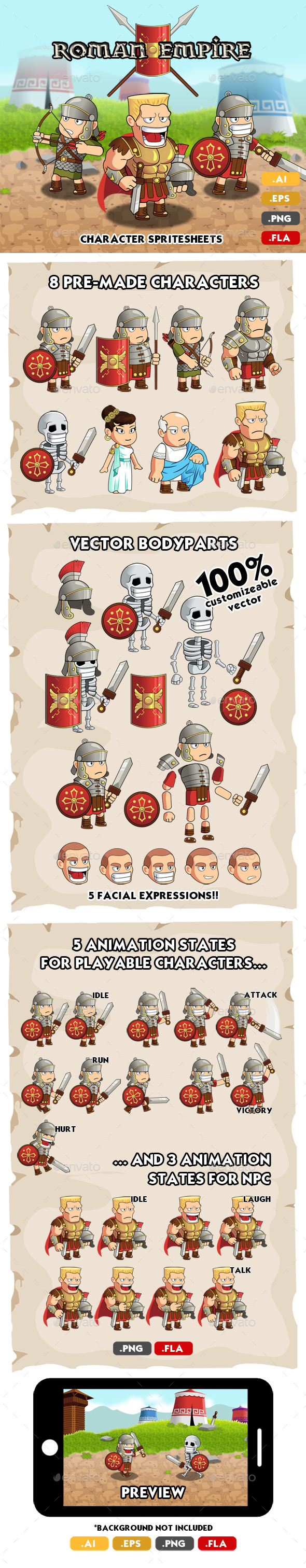GraphicRiver Roman Character Spritesheets 20373643
