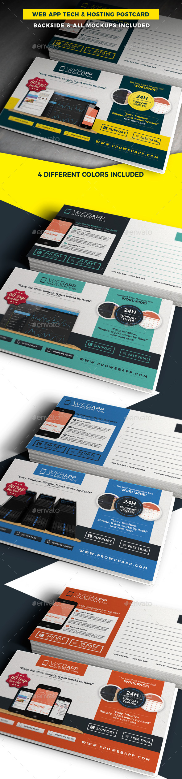 Web App Tech and Hosting Postcard Template - Cards & Invites Print Templates