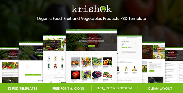 Krishok - Organic Food, Fruit and Vegetables Products PSD Template - Food Retail