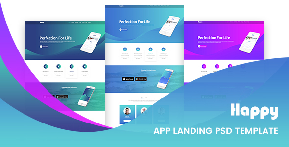 Happy App Landing Page PSD Template