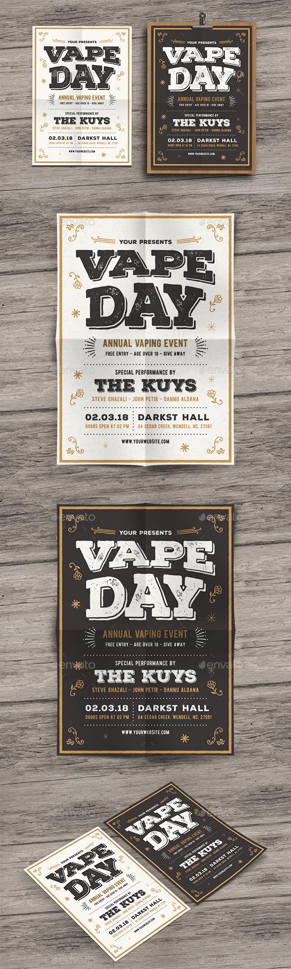 GraphicRiver Vintage Vape Event Flyer 20374149
