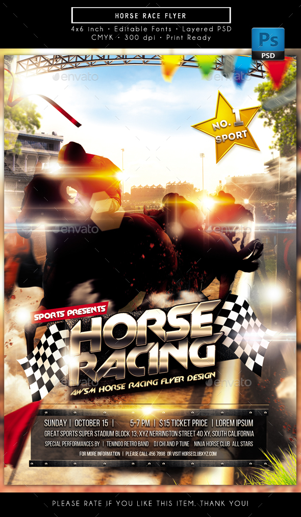 GraphicRiver Horse Race Flyer 20370553