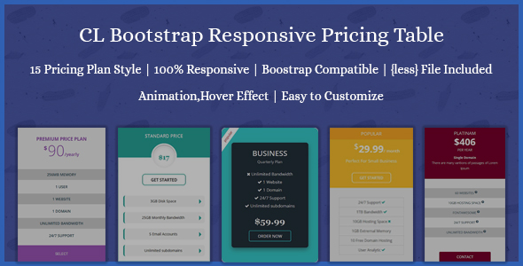 CL Bootstrap Responsive Pricing Table - CodeCanyon Item for Sale