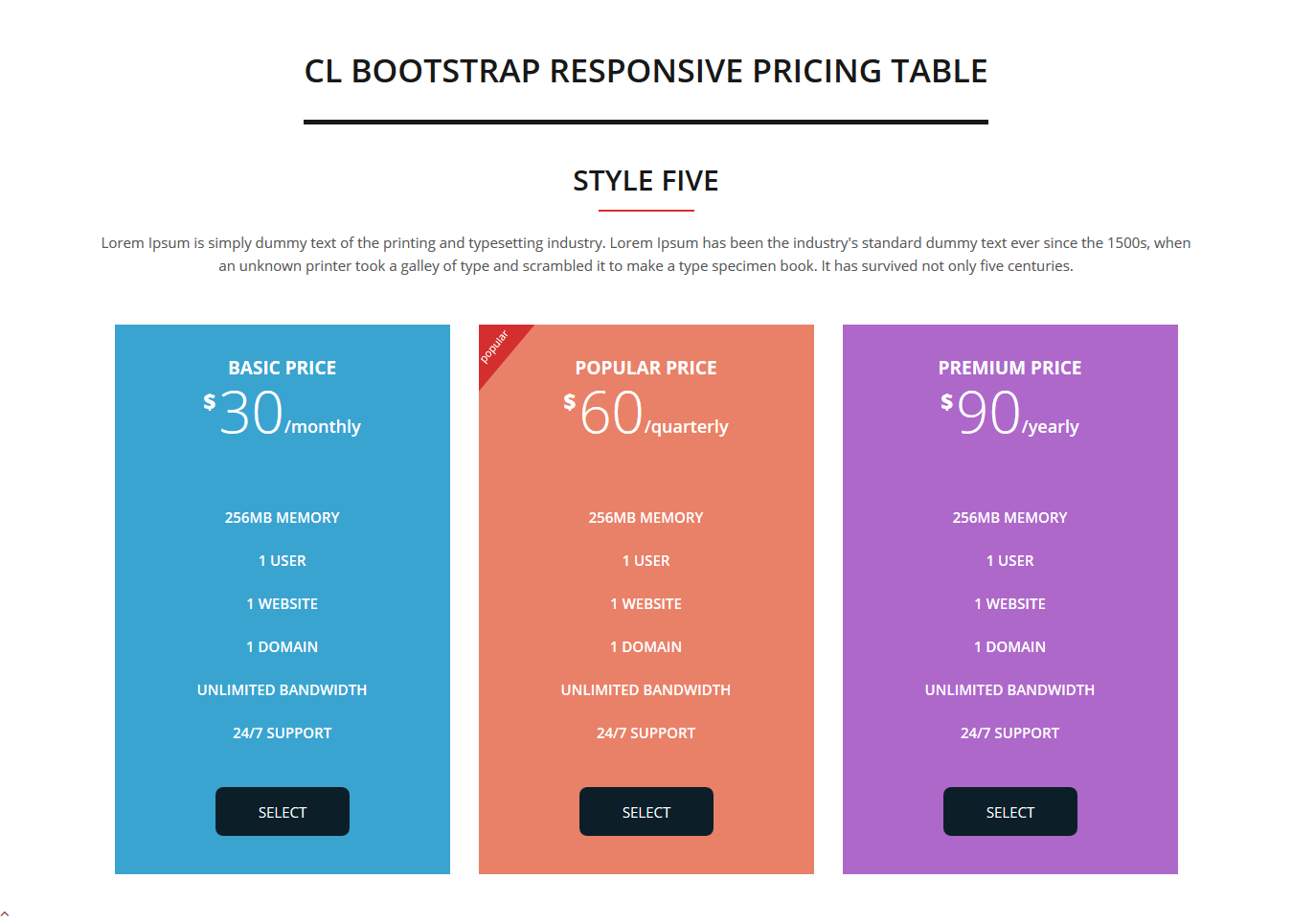 Cl bootstrap responsive pricing table by rs theme codecanyon for Bootstrap table responsive
