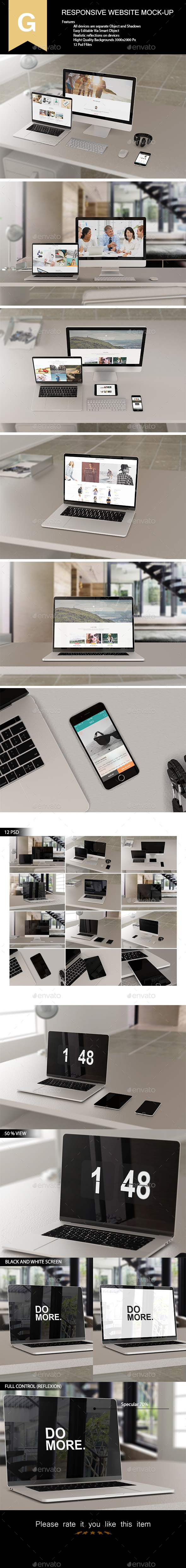 Responsive Website Mock-Up - Product Mock-Ups Graphics