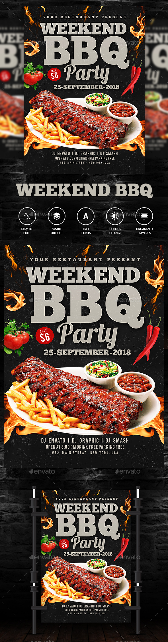 GraphicRiver BBQ Flyer Template 20374623
