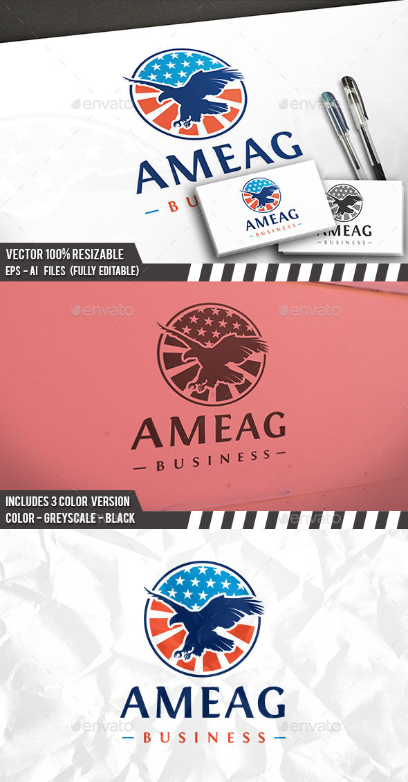 American Eagle Badge Logo - Animals Logo Templates