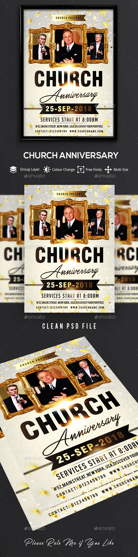 Church Anniversary Flyer Template - Events Flyers